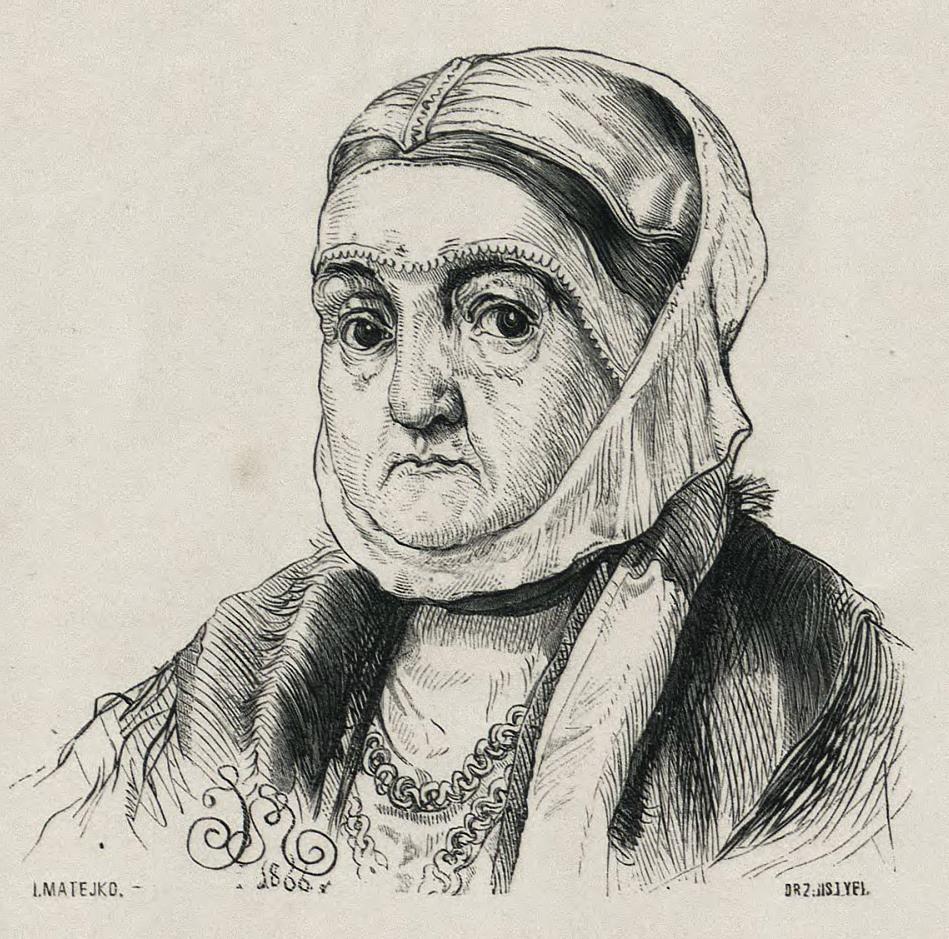 Bona Sforza na rysunku Jana Matejki.