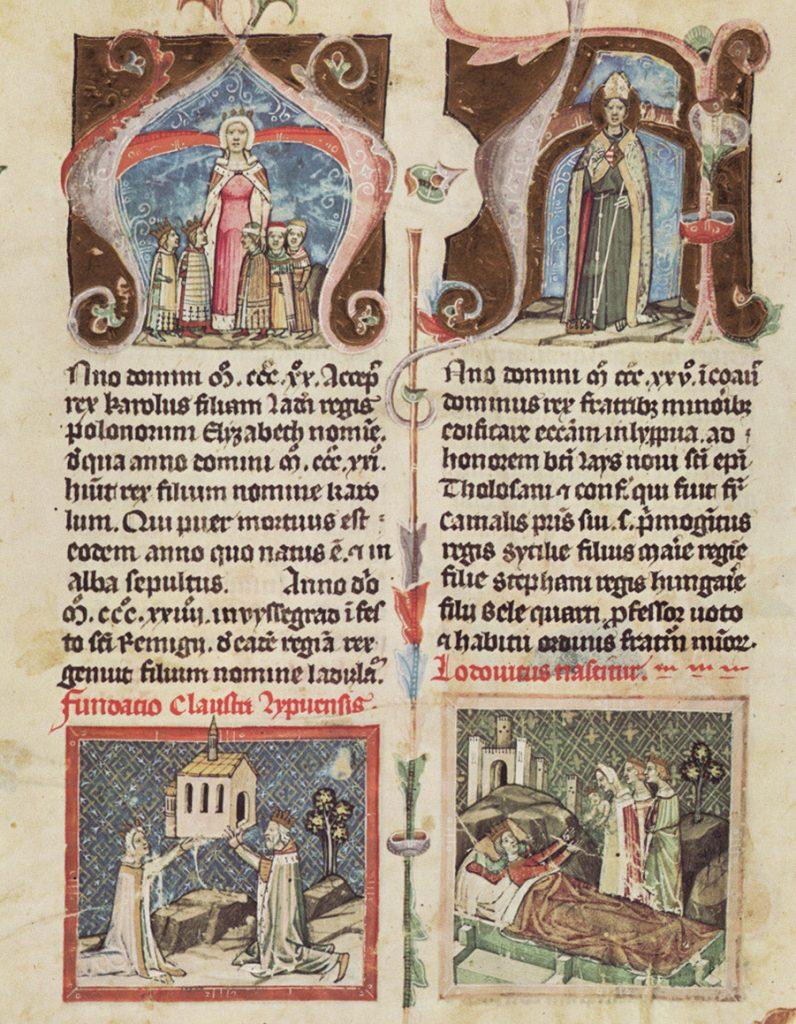 Królowa Elżbieta Łokietkówna na serii miniatur z węgierskiej Kroniki ilustrowanej.