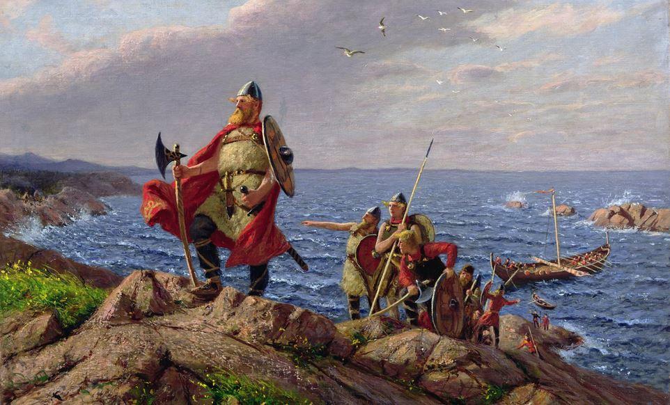 Wikińscy wojownicy na obrazie Hansa Dahla (domena publiczna).