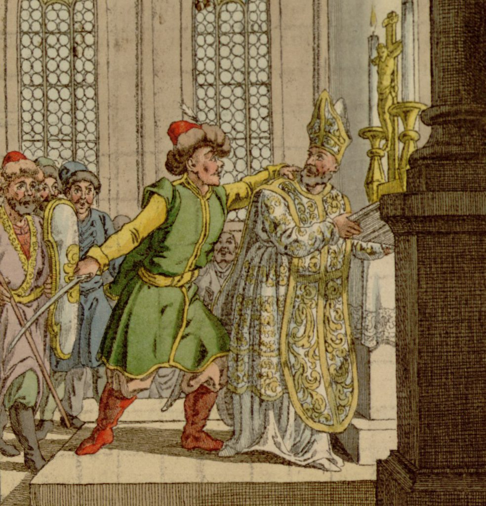 """Zabójstwo biskupa Stanisława. Rycina z książki """"Dzieje Królestwa Polskiego"""", 1820."""