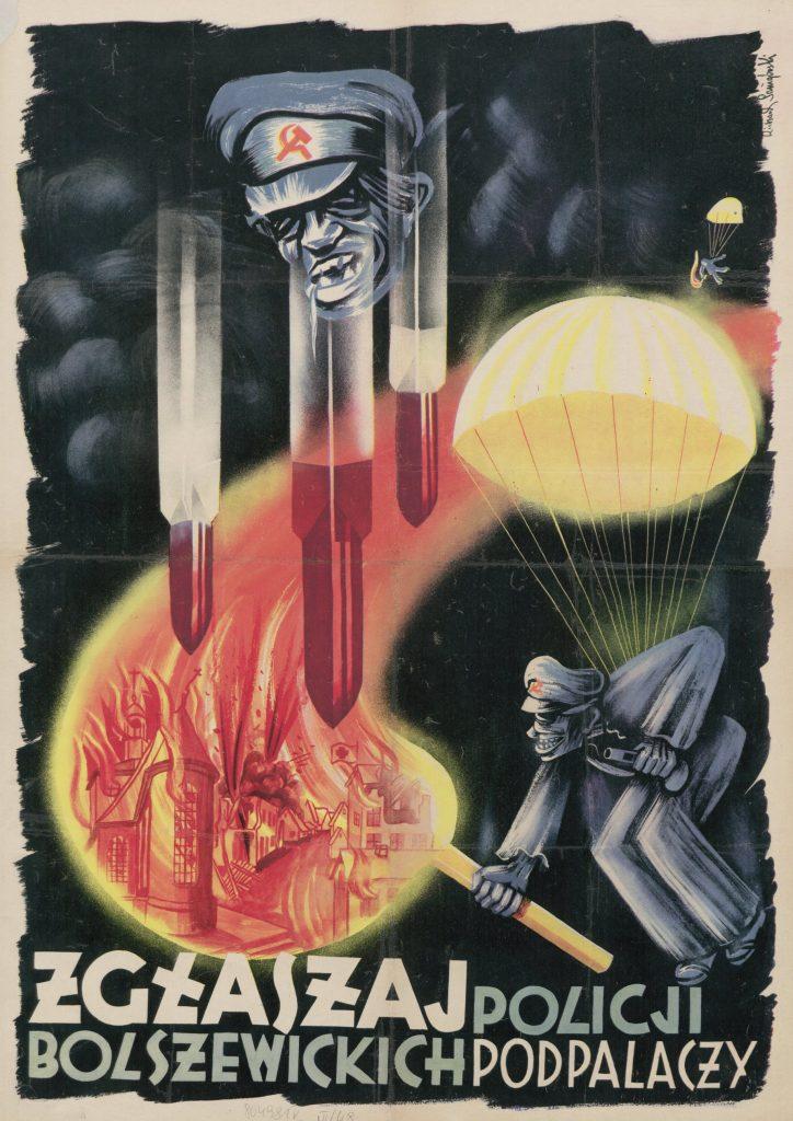 Niemiecka propaganda straszyła Polaków wizją nadciągających bolszewików. Na ilustracji plakat propagandowy z 1944 roku (domena publiczna).