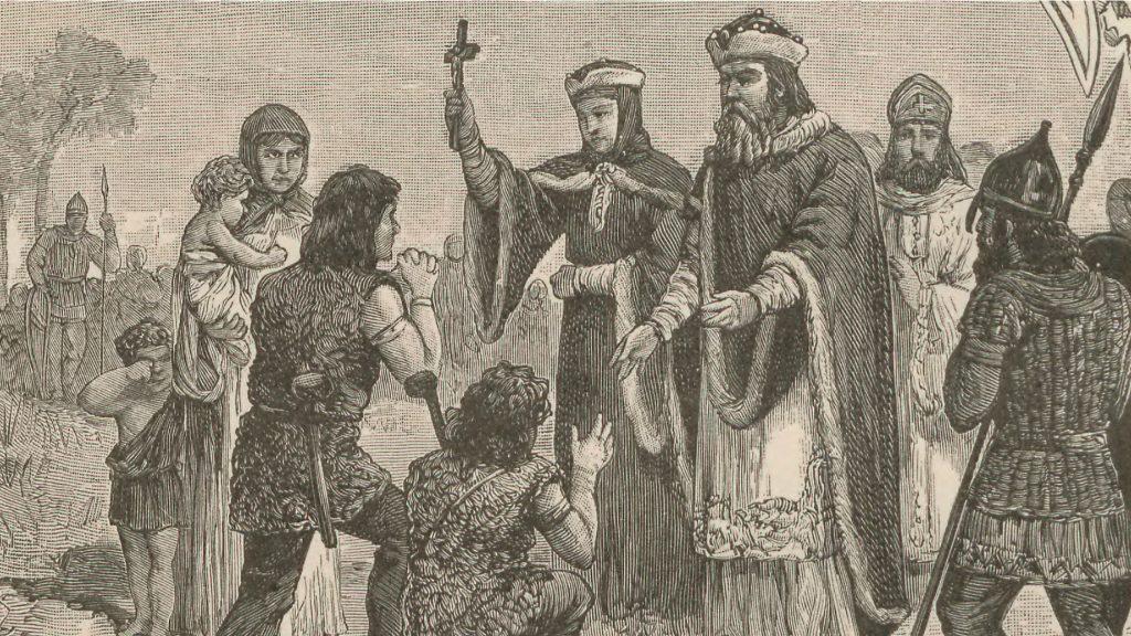 Mieszko i Dobrawa/Dąbrówka krzewią wiarę chrześcijańską.
