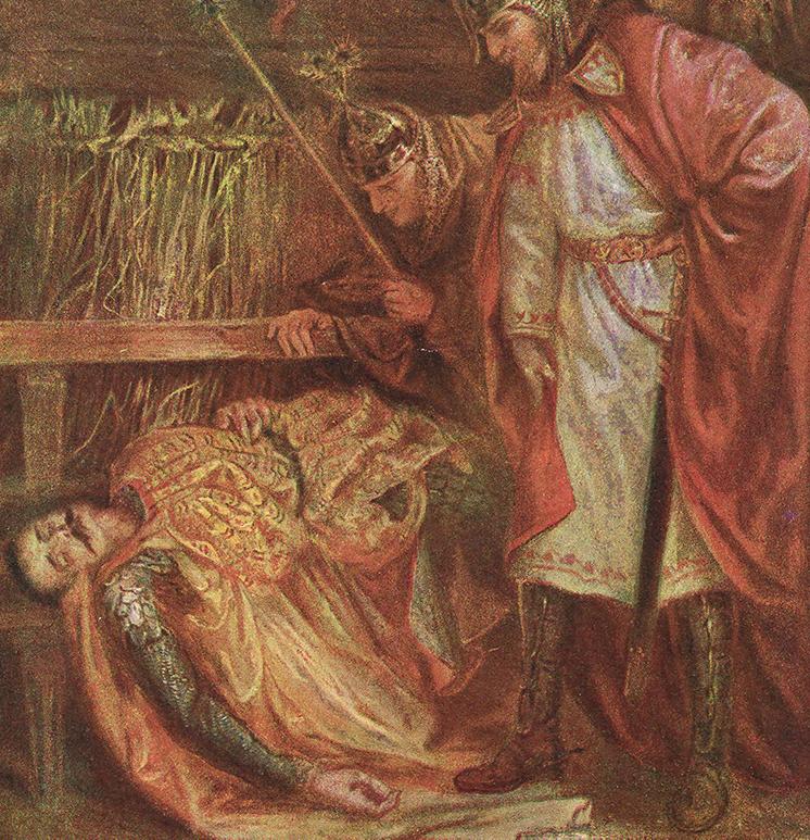 Mieszko II nad zwłokami Bezpryma. Wyobrażenie XIX-wieczne.