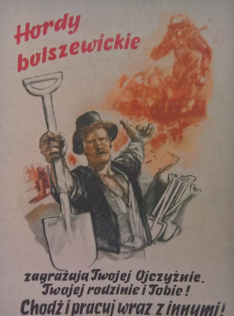 Niemiecki plakat propagandowy zachęcający do pracy przy budowie umocnień obronnych przeciw Armii Czerwonej (domena publiczna).