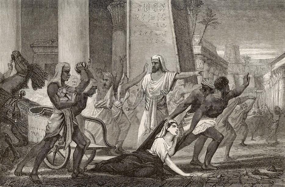 Rysunek z drugiej połowy XIX wieku przedstawiający śmierć Hypatii (domena publiczna).
