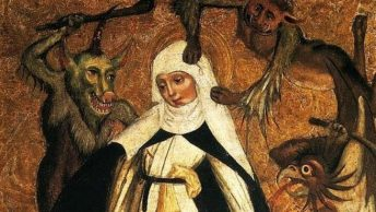 Średniowieczna święta broni się przed diabelskimi podszeptami