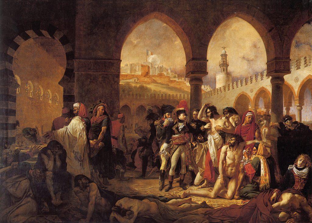 Obraz ukazujący Napoleona, który odwiedza zadżumionych żołnierzy w Jaffie (Antoine-Jean Gros/domena publiczna).