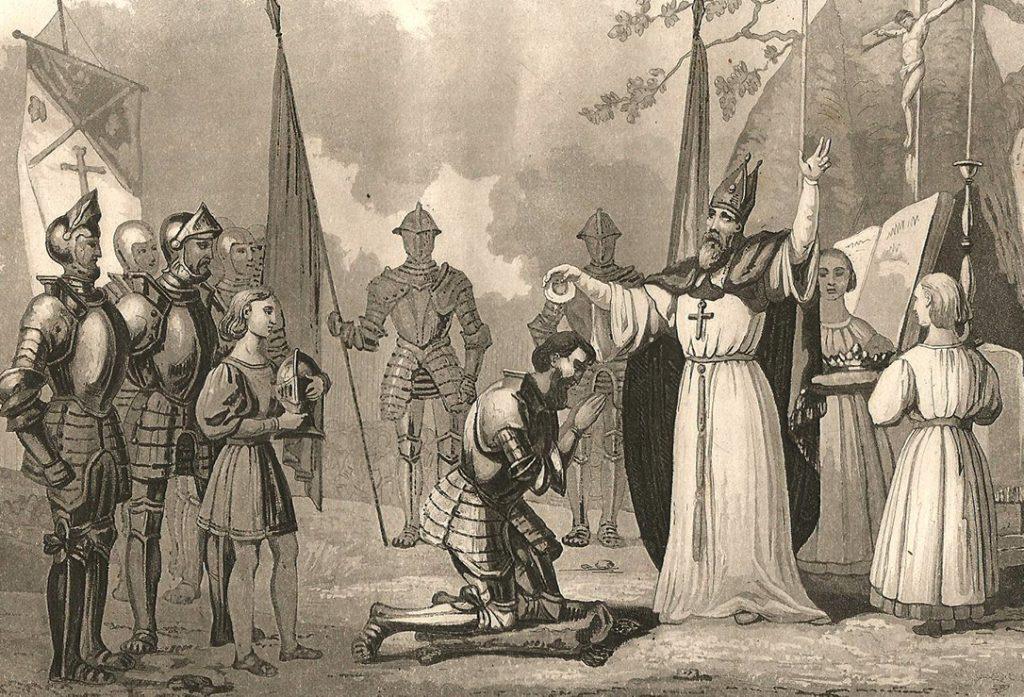 Chrzest litewskiego króla Mendoga na XIX-wiecznej rycinie