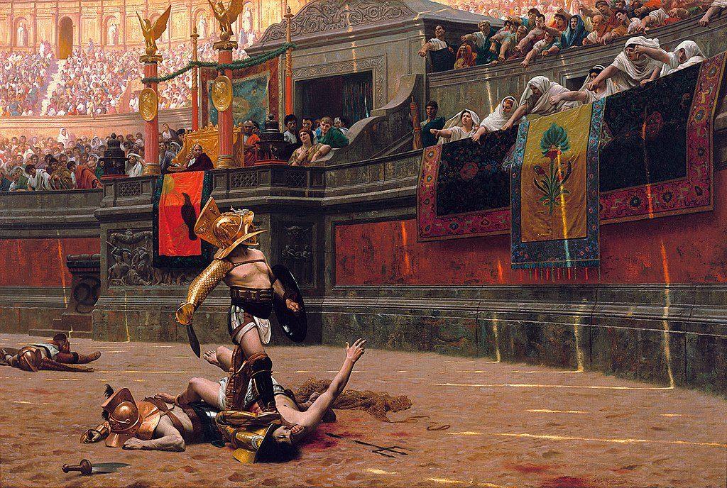 Rzymianie kochali oglądać walczących gladiatorów. W 27 roku tysiące z nich przypłaciły to życiem (Jean-Léon Gérôme.domena publiczna).