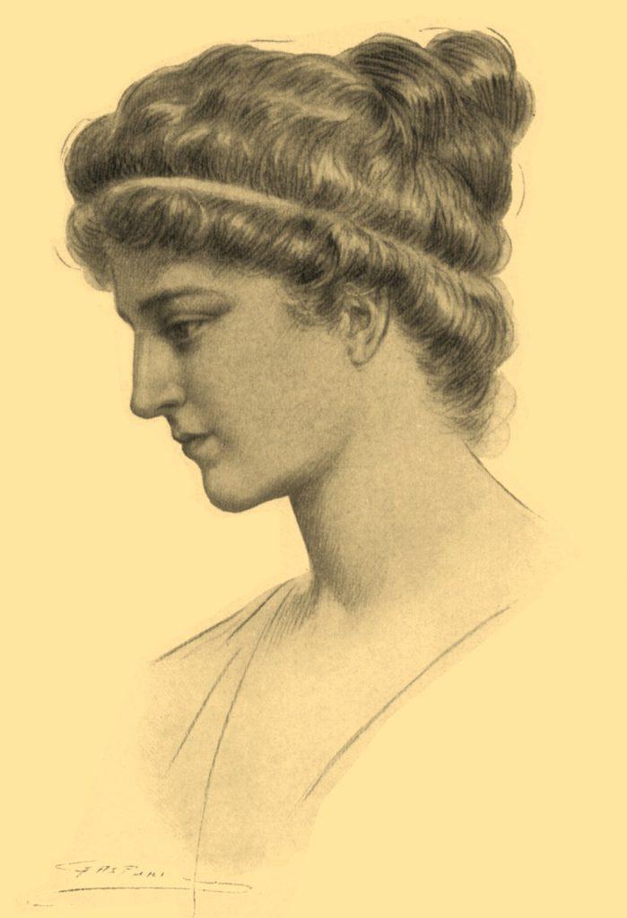 Niestety do naszych czasów nie zachowały się żadne z dzieł Hypatii. Tak wyobrażał sobie ją Jules Maurice Gaspard (domena publiczna).