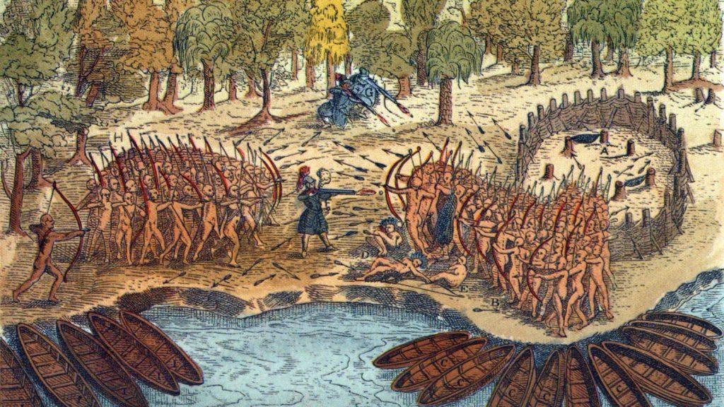 Irokezi w walce. Ilustracja z XVII wieku