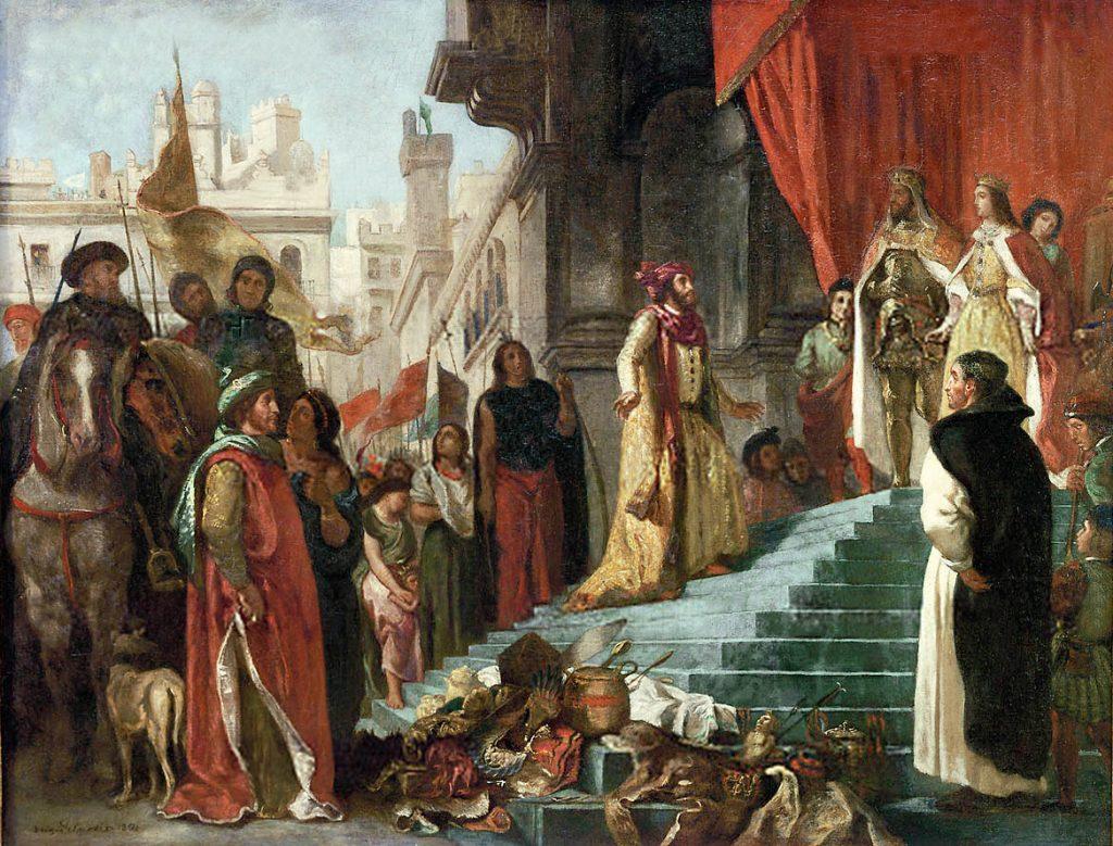 Kolumbowi nie wystarczało złoto oraz inne cenne przedmioty zabrane rdzennym mieszkańcom. Postanowił zostać handlarzem żywym towarem (Eugène Delacroix/domena publiczna).