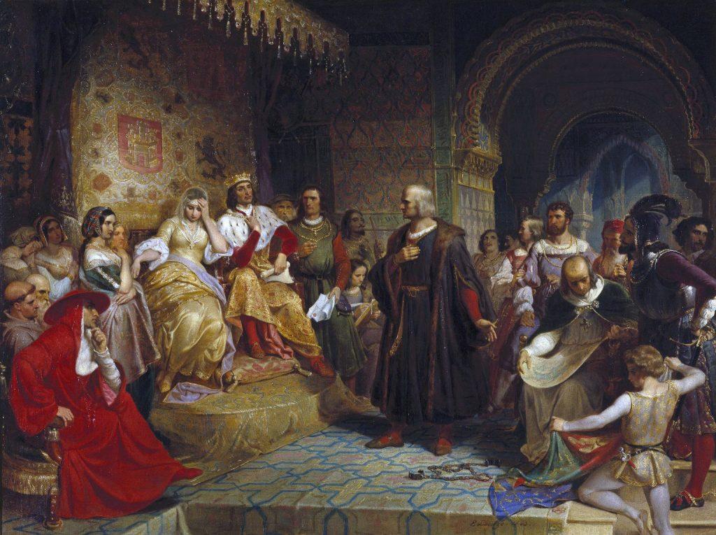 Krzysztof Kolumb przed obliczem Izabeli Kastylijskiej oraz Ferdynanda Aragońskiego (Gottlieb Leutze/domena publiczna).
