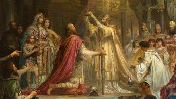 Koronacja Karola Wielkiego na XIX-wiecznym obrazie Friedricha Kaulbacha