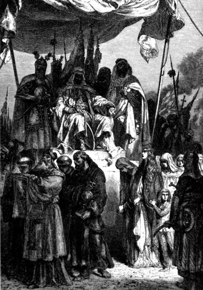 Mieszkańcy Jerozolimy przed obliczem Saladyna. Ryc. François Guizot, 1883.