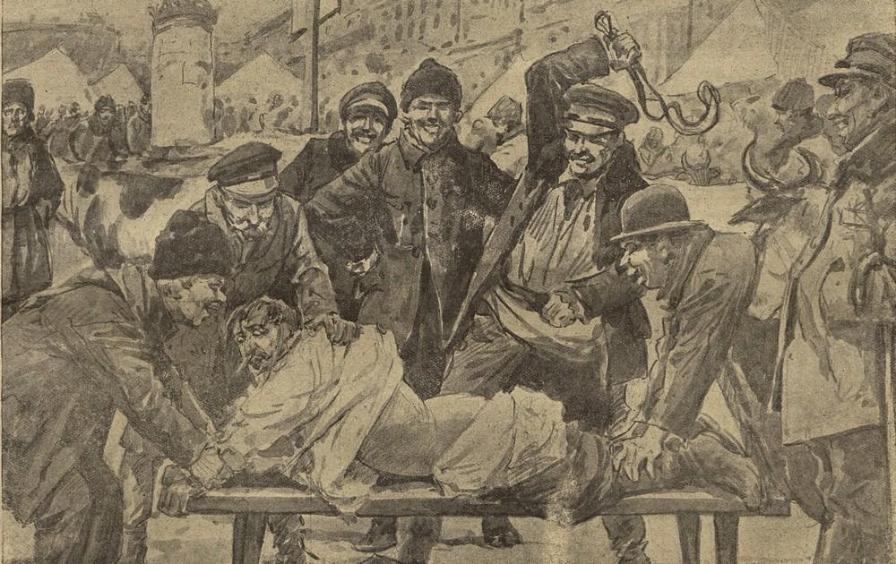 Paskarze byli prawdziwą plagą początku lat 20. Dorabiali się również na cukrze. Na ilustracji scena z obicia paskarza przez rozwścieczony tłum (domena publiczna).