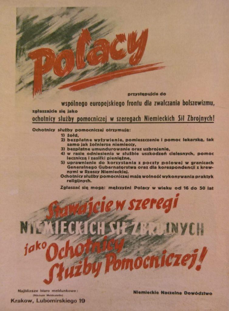 Niemiecki plakat werbunkowy z 1944 roku skierowany do Polaków (domena publiczna).