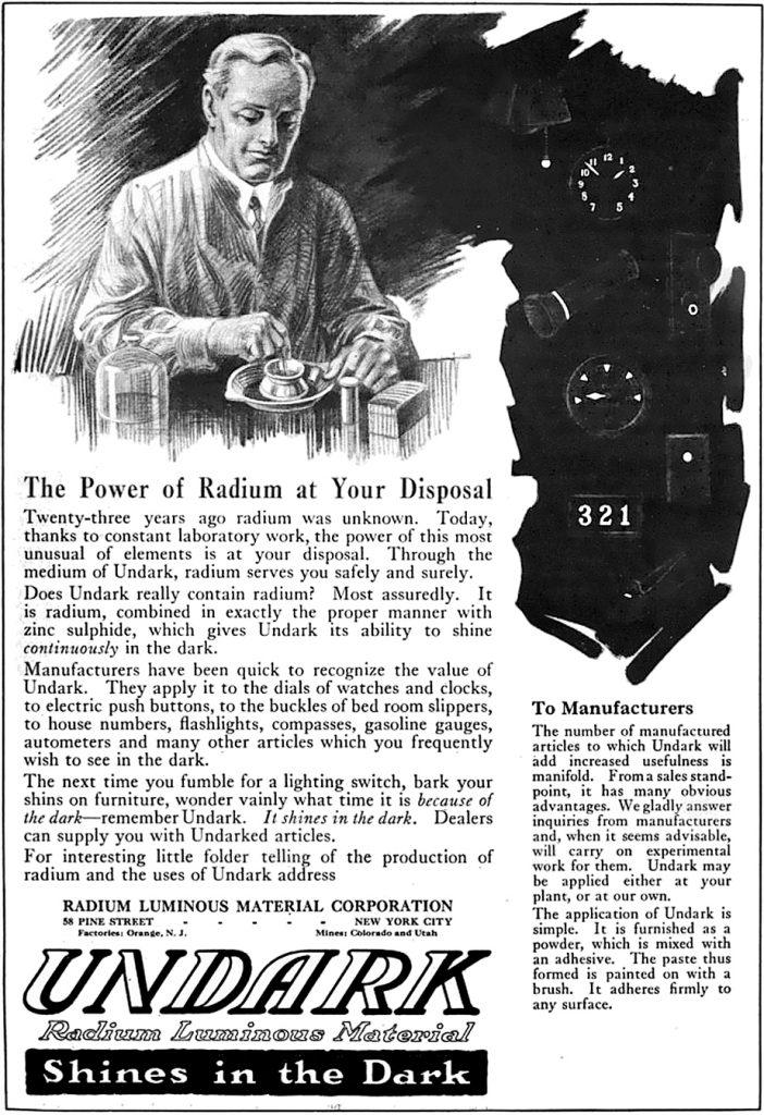 Prasowa reklama z roku 1922. Undark, czyli fluorescencyjny środek z radem.
