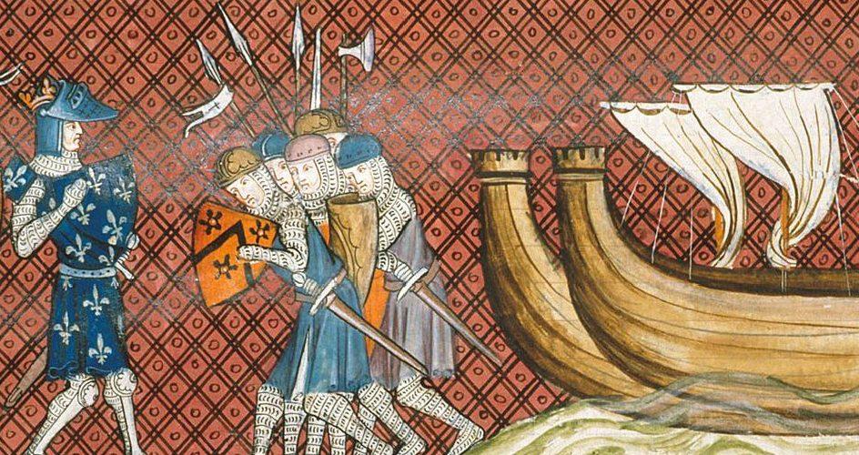 Przybycie do Palestyny. Miniatura z XIV wieku