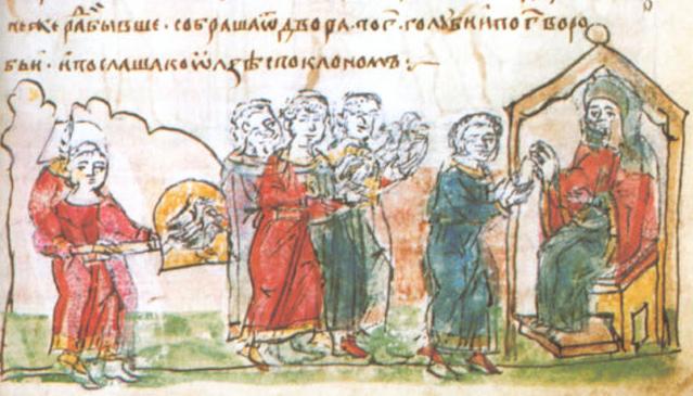 Sceny zemsty na Drewlanach na kartach tak zwanego Latopisu Radziwiłłowskiego. Scena czwarta: podstępne podpalenie Iskorostenia.