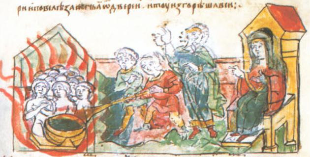 Sceny zemsty na Drewlanach na kartach tak zwanego Latopisu Radziwiłłowskiego. Scena druga: spalenie Drewlan w łaźni.
