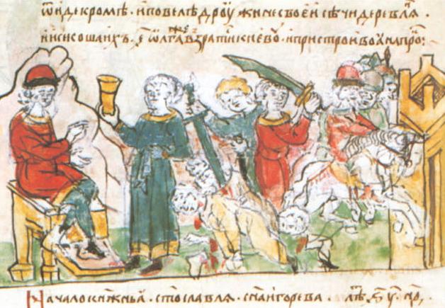 Sceny zemsty na Drewlanach na kartach tak zwanego Latopisu Radziwiłłowskiego. Scena trzecia zarżnięcie pięciu tysięcy uczestników uczty