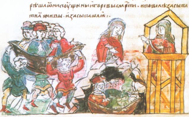 Sceny zemsty na Drewlanach na kartach tak zwanego Latopisu Radziwiłłowskiego. Scena pierwsza: zakopanie Drewlan żywcem.