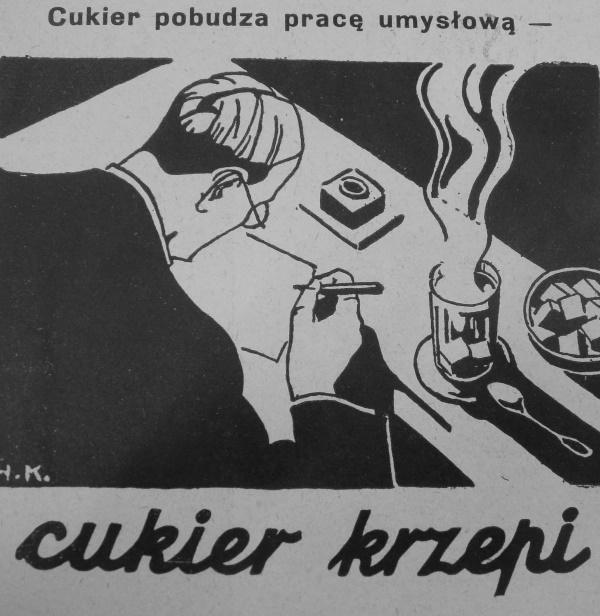 Przeciętny nauczyciel w II RP chyba nie mógł sobie pozwolić na wrzucanie tylu kostek cukru do herbaty (domena publiczna).