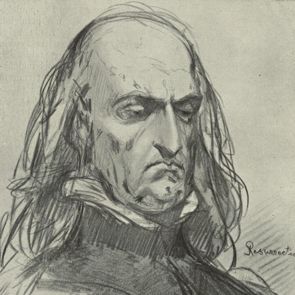 Łysy Jagiełło na szkicu Jana Matejki. Portret, choć wykonany stulecia po śmierci króla, zdaje się przynajmniej po części odpowiadać jego prawdziwej sylwetce.