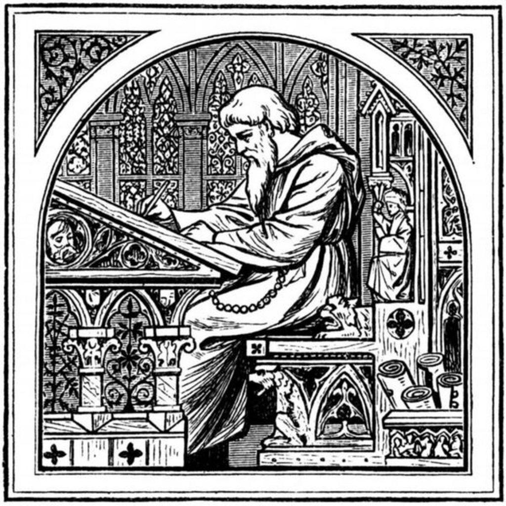 Średniowieczny skryba przy pracy. Tak mógł wyglądać Gall (Italus?) Anonim.