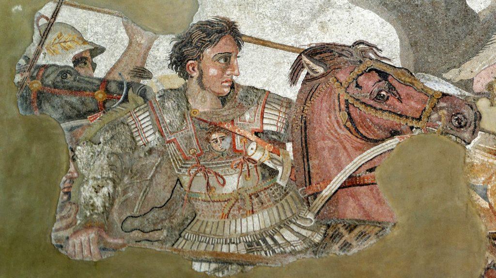 Aleksander Wielki w walce na mozaice z I w. p.n.e. przedstawiającej prawdopodobnie bitwę pod Issos