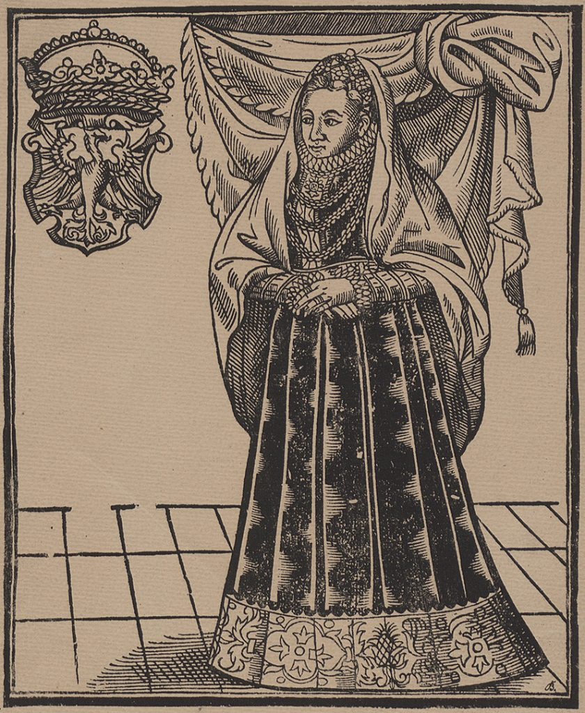 Anna Jagiellonka. Litografia według drzeworytu wykonanego za jej życia.