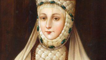 Barbara Radziwiłłówna na późnym, XVIII-wiecznym wariancie swojego portretu koronacyjnego. Obraz w zbiorach Zamku Królewskiego na Wawelu