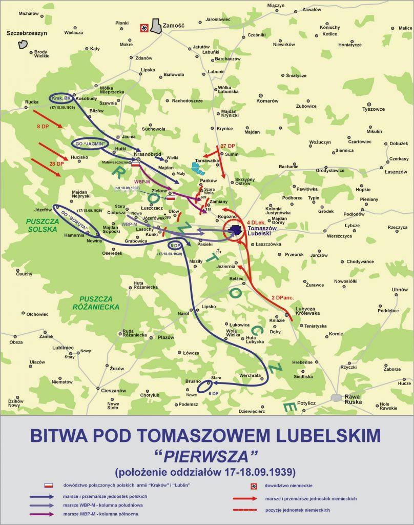 Przebieg pierwszej bitwy pod Tomaszowem Lubelskim (Lonio17/CC BY-SA 4.0). Kliknij, aby powiększyć.