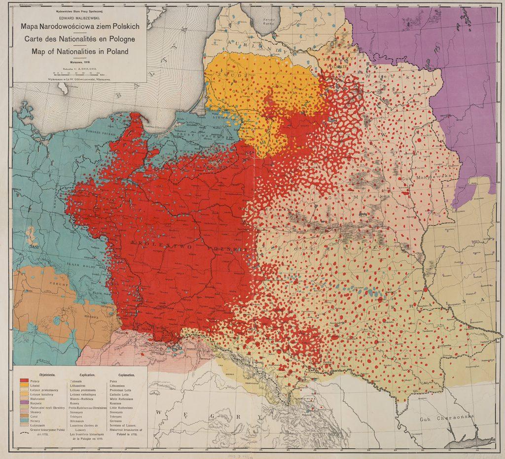 Mapa narodowościowa ziem polskich (1919).