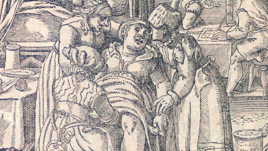 Rodząca kobieta na rycinie z końca XVI wieku.