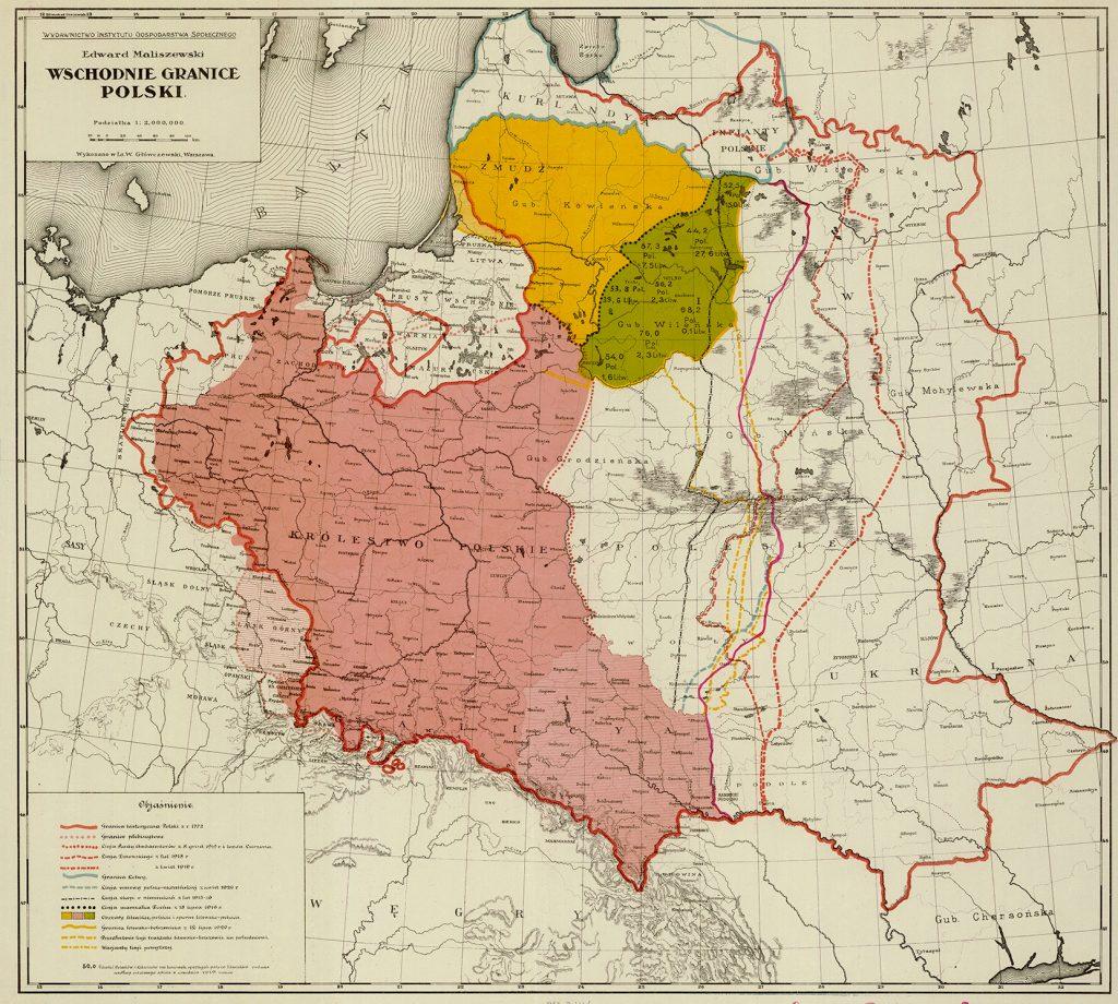 Wschodnie granice Polski. Mapa z 1920 roku.