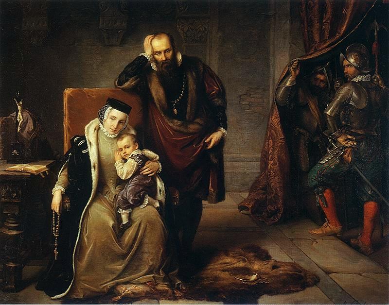 Zygmunt Waza na ramionach matki Katarzyny Jagiellonki. Obok stoi ojciec chłopca - Jan III Waza.