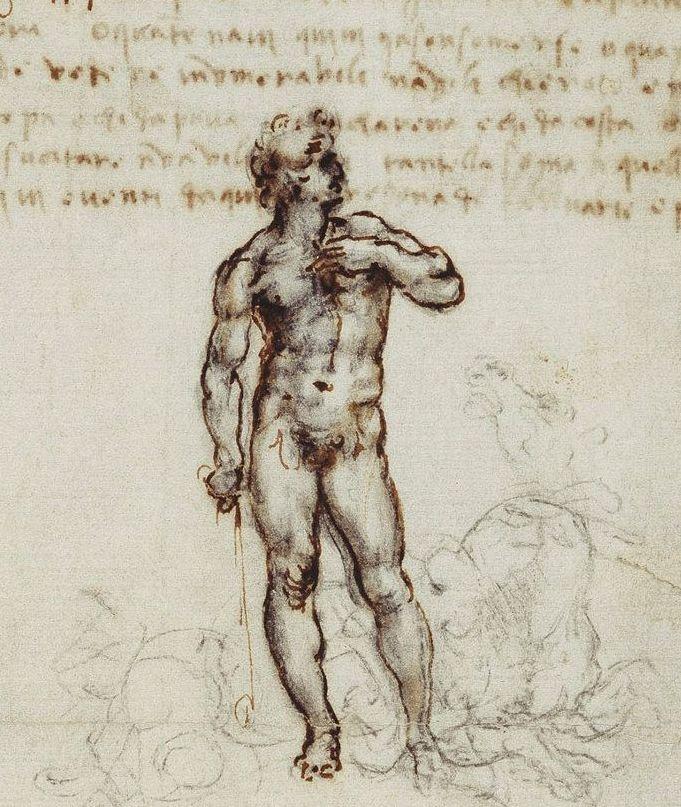 Dawid na rysunku Leonarda da Vinci (domena publiczna).