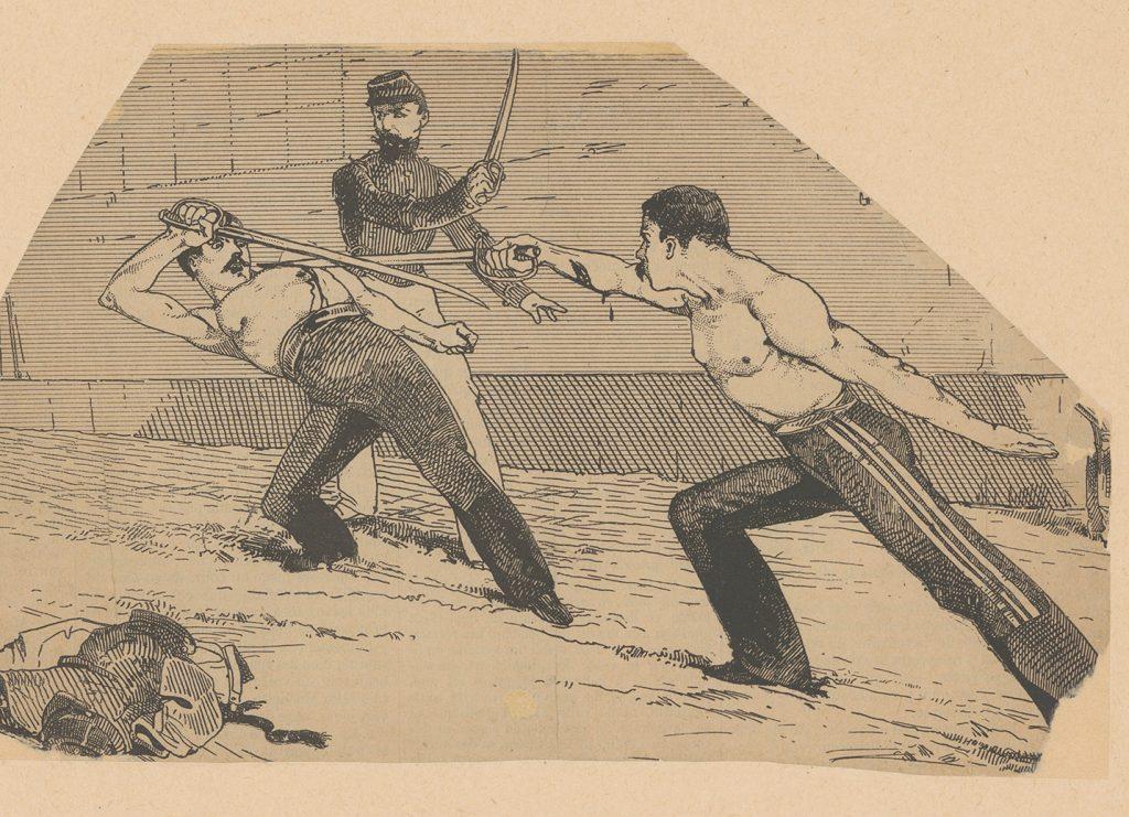 Pojedynek na drzeworycie z drugiej połowy XIX wieku