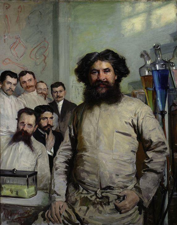 Ludwik Rydygier oraz jego asystenci na obrazie Leona Wyczółkowskiego. Drugi od lewej stoi doktor Antoni Gabryszewski (domena publiczna).