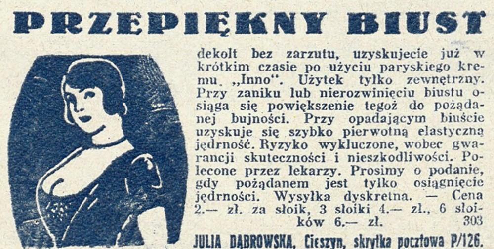 """W międzywojennej Polsce piękny biust miały zapewnić kobietom również różne """"cudowne"""" specyfiki (domena publiczna)."""