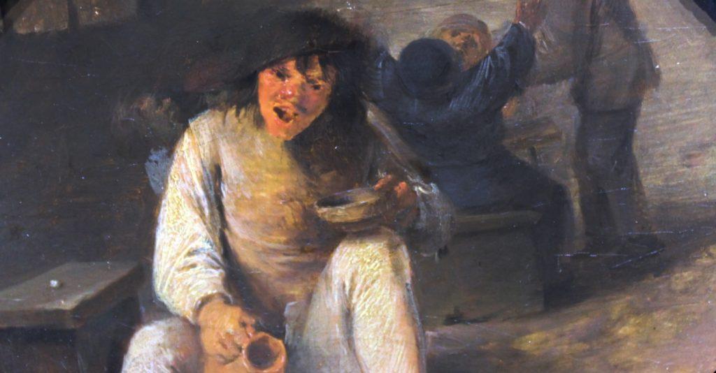 Chłop w karczmie na XVII-wiecznym obrazie.