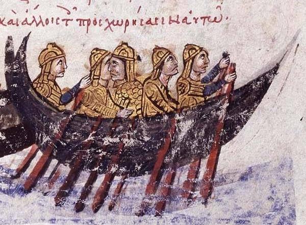 Morderczej skuteczności ognia greckiego doświadczyli nie nieraz arabscy piraci (domena publiczna).