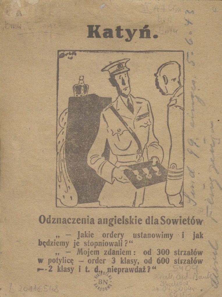 Niemiecka ulotka propagandowa wykorzystująca temat zbrodni katyńskiej (domena publiczna).