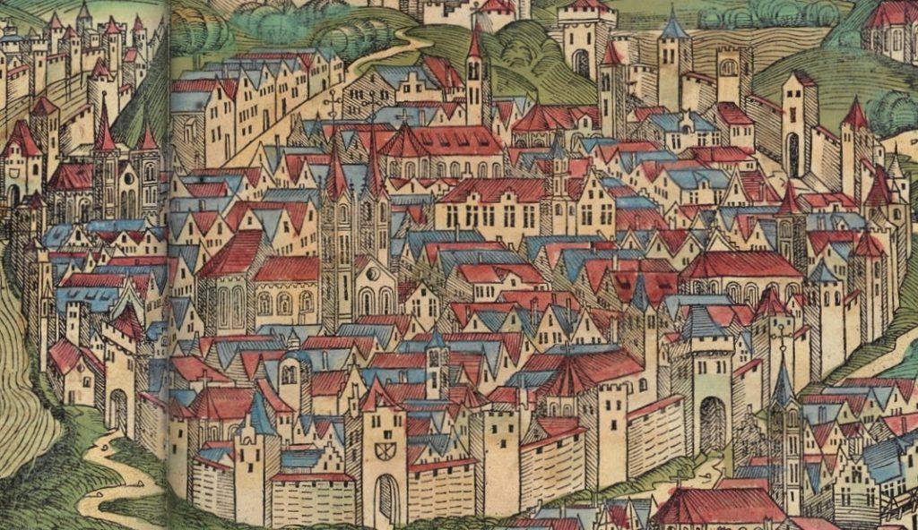 Krakowscy mieszczanie mieli odznaczać się rozsądkiem i uprzejmością. Na ilustracji fragment kolorowego drzeworytu przedstawiającego Kraków z Kroniki świata (domena publiczna).