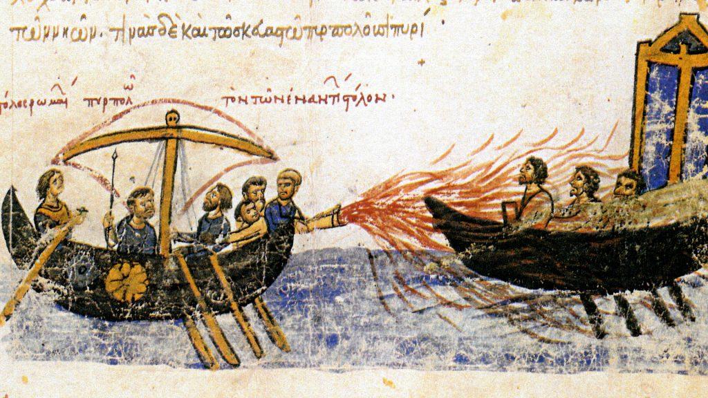 Ilustracja z kroniki Jana Skylitzesa, przedstawiająca moment użycia ognia greckiego (domena publiczna).