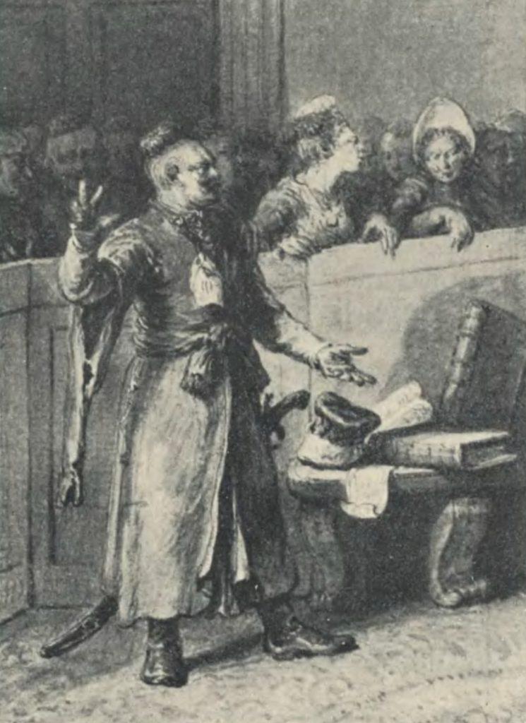 Patron na sądzie na rysunku Jana Piotra Norblina (domena publiczna).