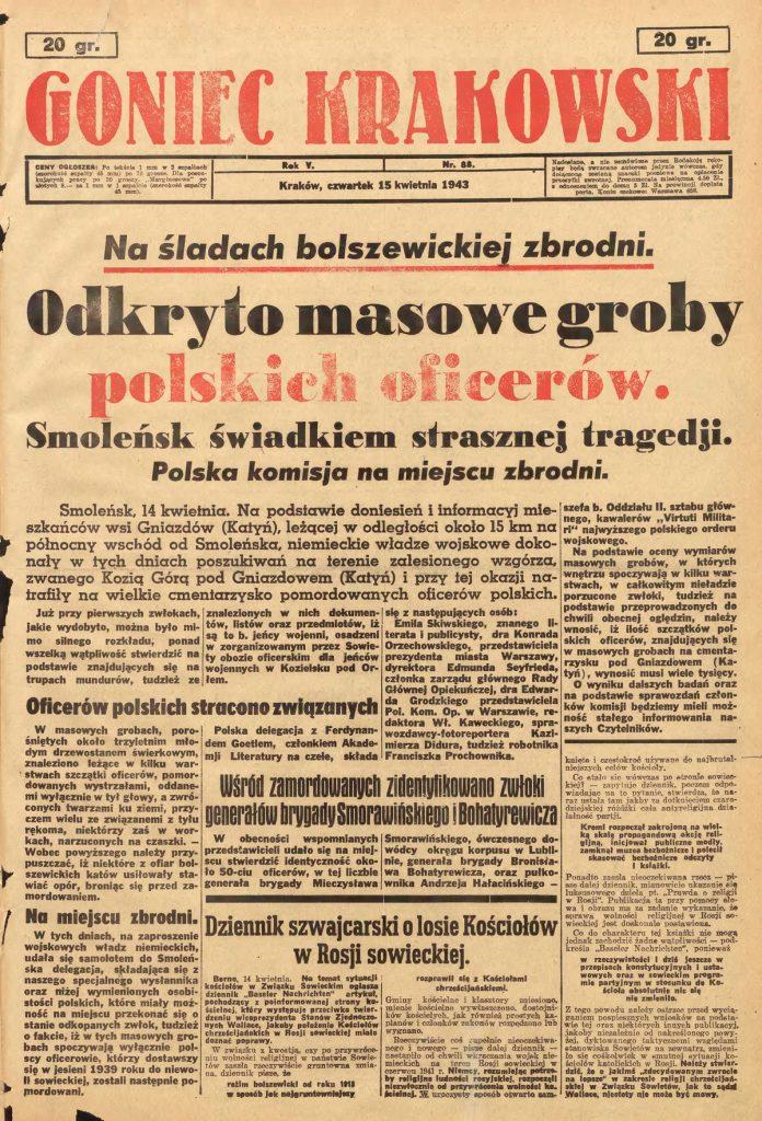 """Strona tytułowa gadzinowego """"Gońca Krakowskiego"""" z 15 kwietnia 1943 roku."""