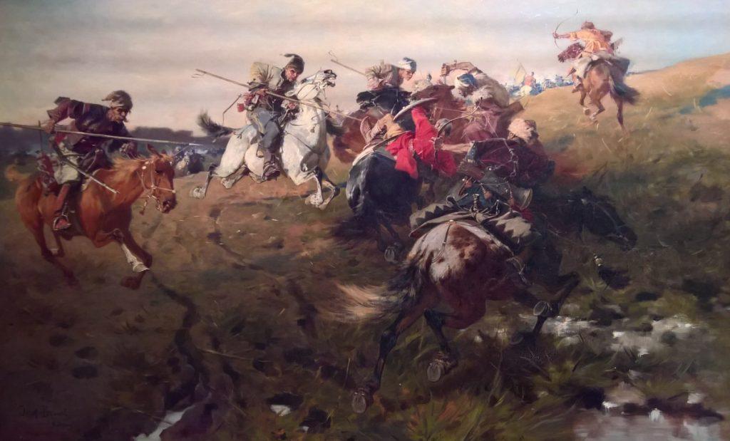 Potyczka Tatarów z Kozakami  na obrazie Józefa Brandta (domena publiczna).